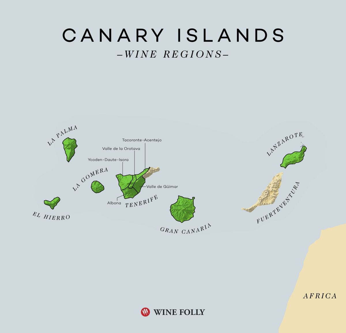 Carte des vins des îles Canaries par Wine Folly